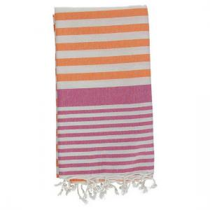 Turkish Towel Galia Orange Fuschia Peshtemal Beach Towel Fouta