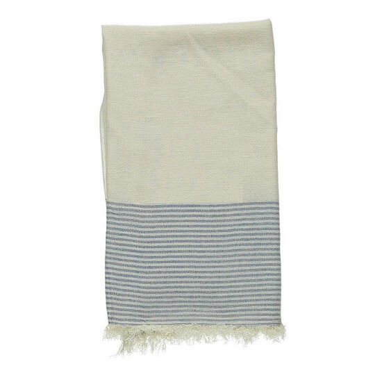Turkish Towel Off-White Navy Blue Travel, beach, Yoga Towel with Fringes