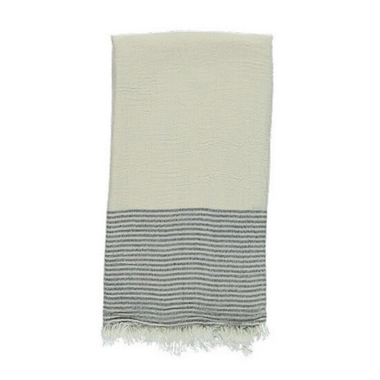 Turkish Towel Off-White Black Travel, beach, Yoga Towel with Fringes