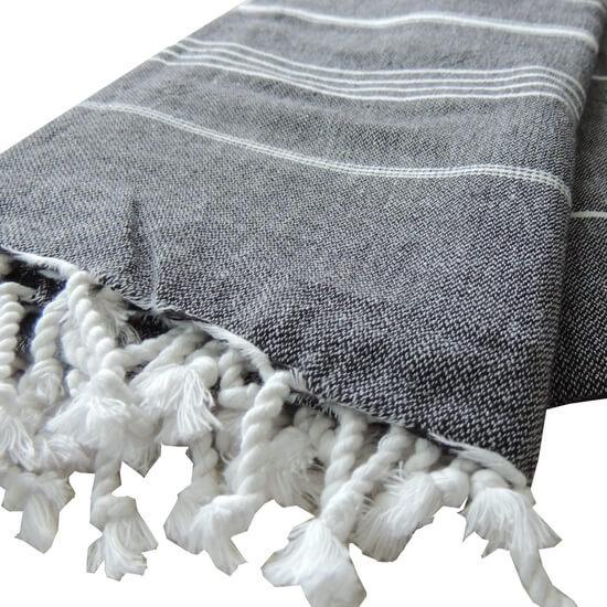 Extra Stor Hamam handduk De La Mer Svart Strandhandduk Badlakan