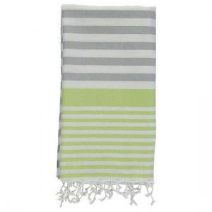 Turkish Towel Galia Silver Grey Lime Green Peshtemal Beach Towel Fouta