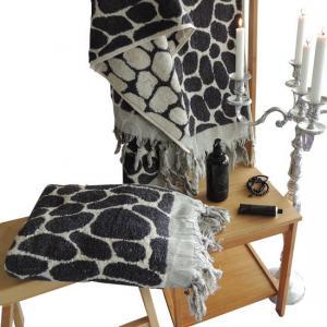 Towel Flintstones Hand loomed Melange Black / Charcoal grey 100% Cotton 90x165 cm