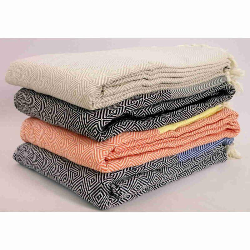Hand made XXL Turkish peshtemal cotton blanket 230x200 cm