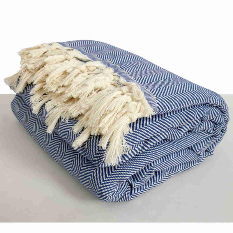Hand loomed Herringbone blanket size cotton peshtemal, throw