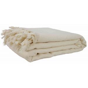 240x220 cm tunn handvävd pläd / överkast av 100% bomull 1200g off white
