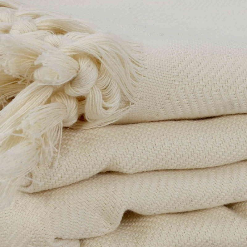 Hand loomed Herringbone XXL off white cotton blanket