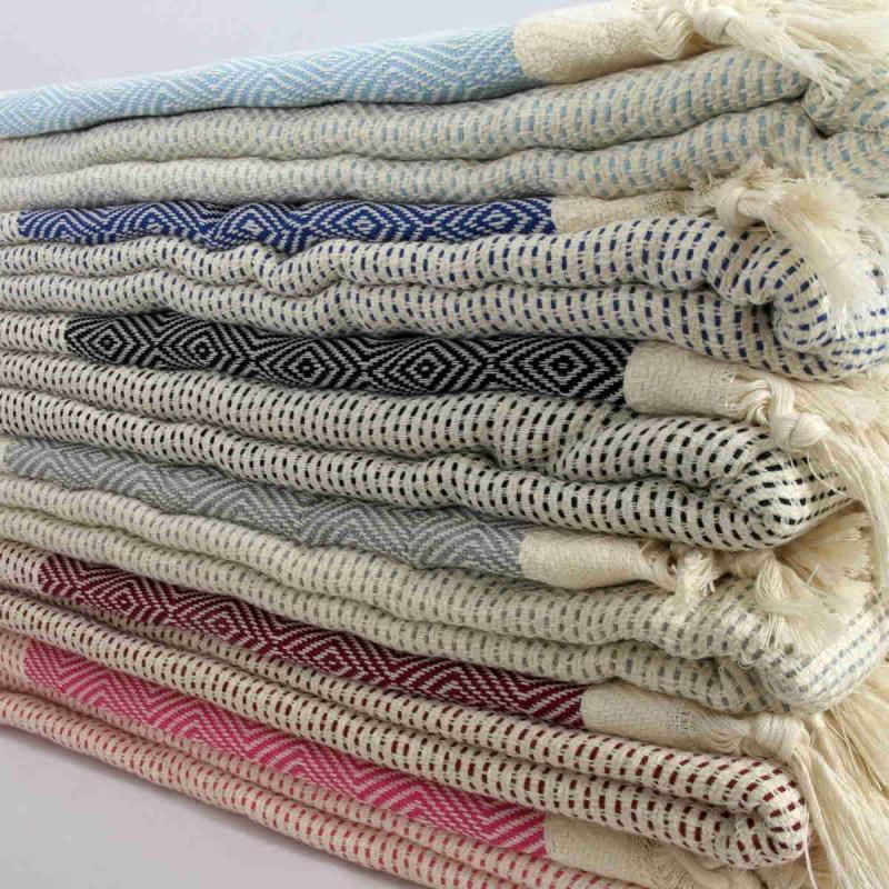 Hand made XXL Turkish peshtemal blanket of 100% cotton 1450g