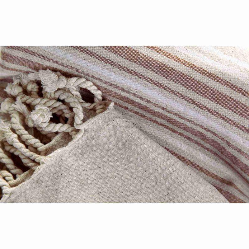 Handvävd Turkisk Linne Hamam Handduk 100x180 Brun vit natur