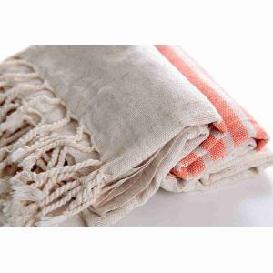 Handvävd Turkisk Linne Hamam Handduk 100x170 Orange natur