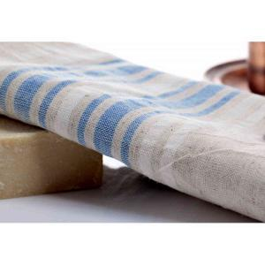 Handvävd turkisk linne hamamhandduk 100x40 cm 115g av 50% linne och 50% bomull blå & vitrandig