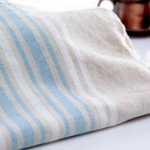 Small Linen Hammam Towel Soft Blue White Striped
