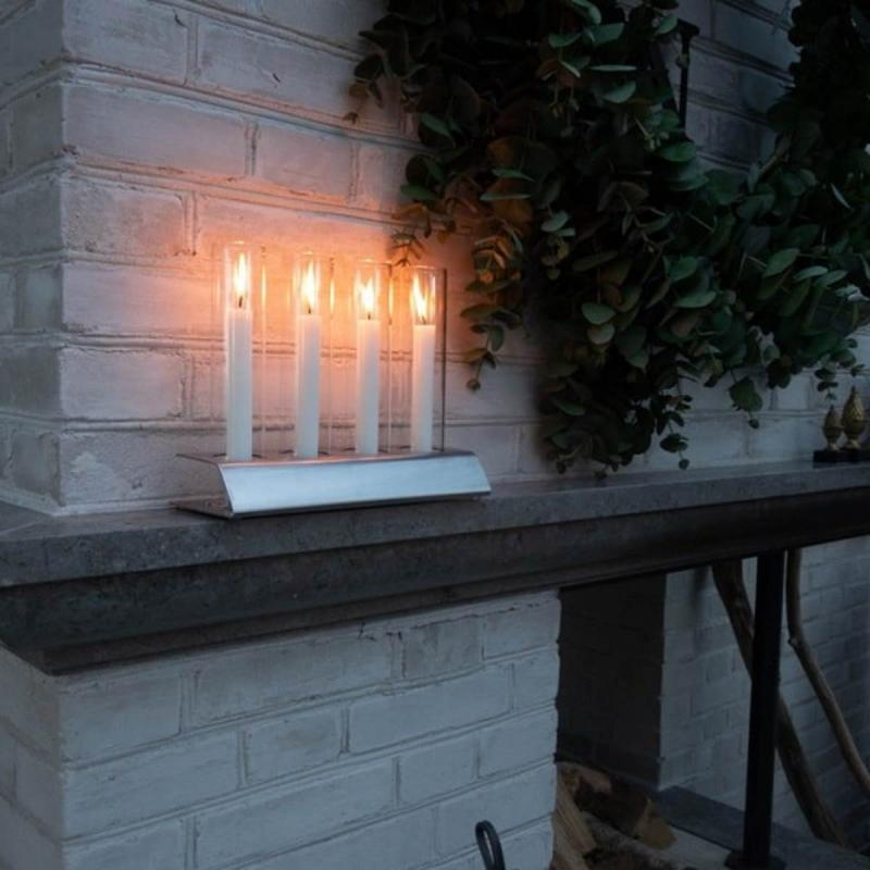 Candle holder Kattvik4 brushed stainless steel