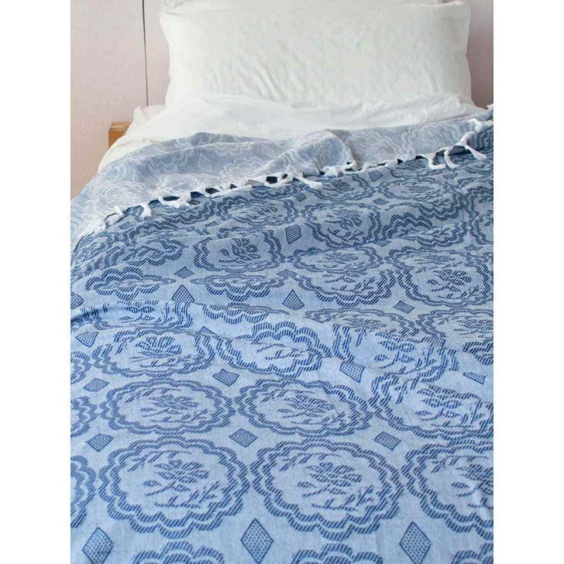 Summer blanket / XXL beach towel navy blue
