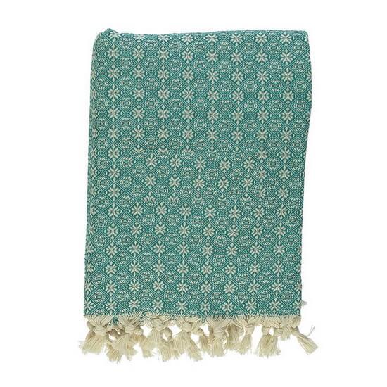 Throw Babuska Teal 150x220 cm 100% Cotton
