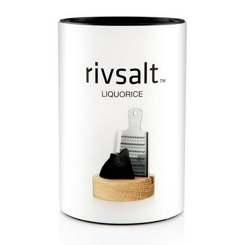 RIVSALT LIQUORICE, grater and desk stand in a gift tube