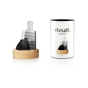 Presentset RIVSALT LIQUORICE, rivjärn och bordsställ av ek
