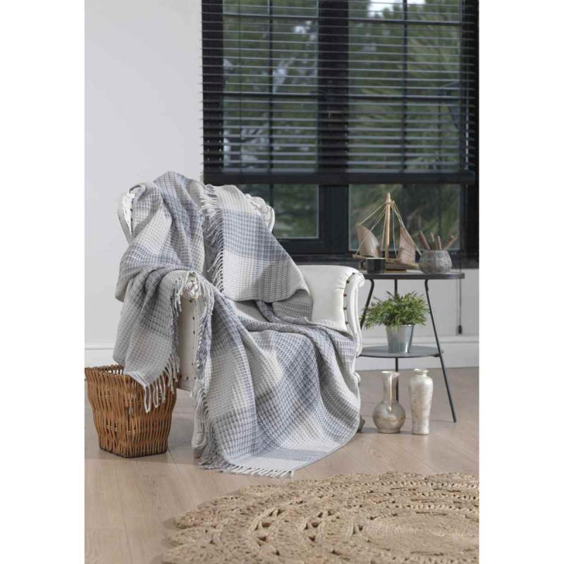 Blanket CHECK gris perle