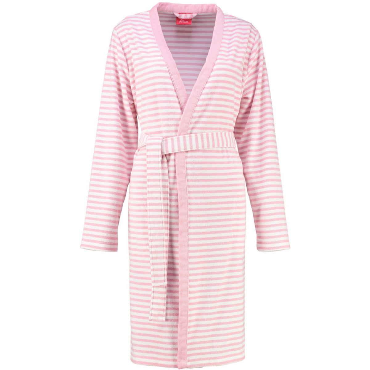 new product 86805 987f1 s.Oliver women's terry kimono bathrobe 3712 20 striped pink