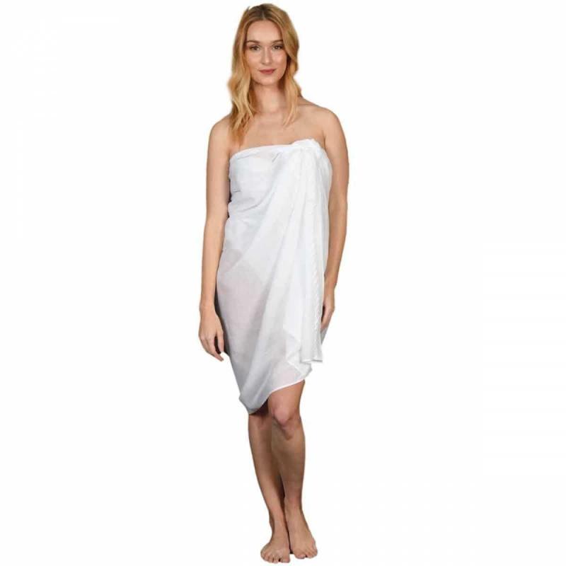 Beach sarong KATUNO blanc