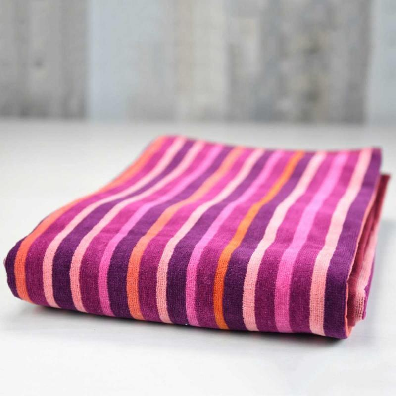 Beach towel BAYADERE striped myrtille