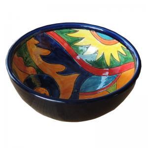 Handmålad dekorativ spansk keramik skål för mat, frukt, dekoration