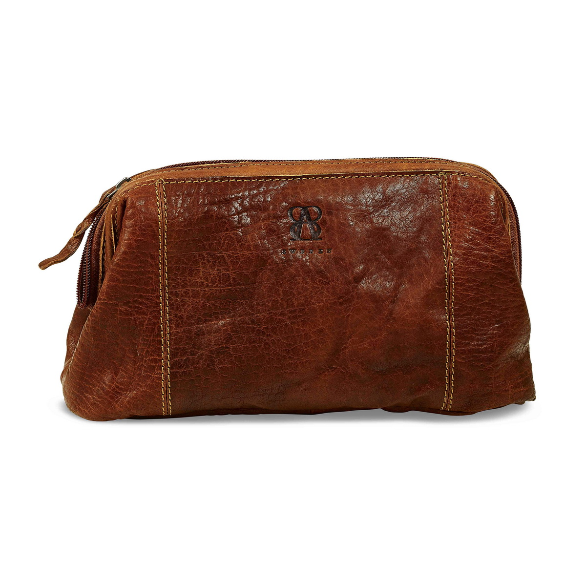Leather toiletry bag from B away Brown unisex model