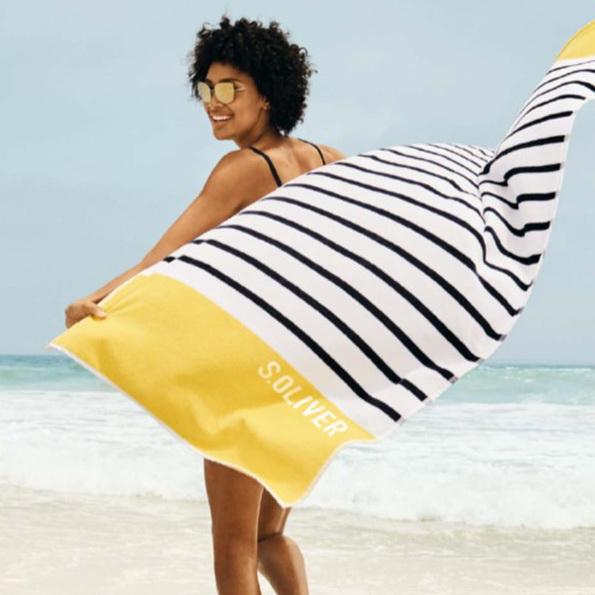 Stor velour strandhandduk 80x180 Stripe 3706 15 från s.Oliver