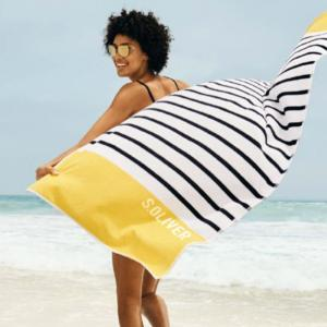 Big velour beach towel 80x180 Stripe 3706 15 from s.Oliver