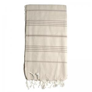 Turkish Hammam Towel - Peshtemal - Fouta Beige & Brown 100x180 cm 100% cotton model 04