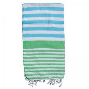 Turkish Hammam Towel - Peshtemal - Fouta Acqua & Green 100x180 cm 100% cotton model 14
