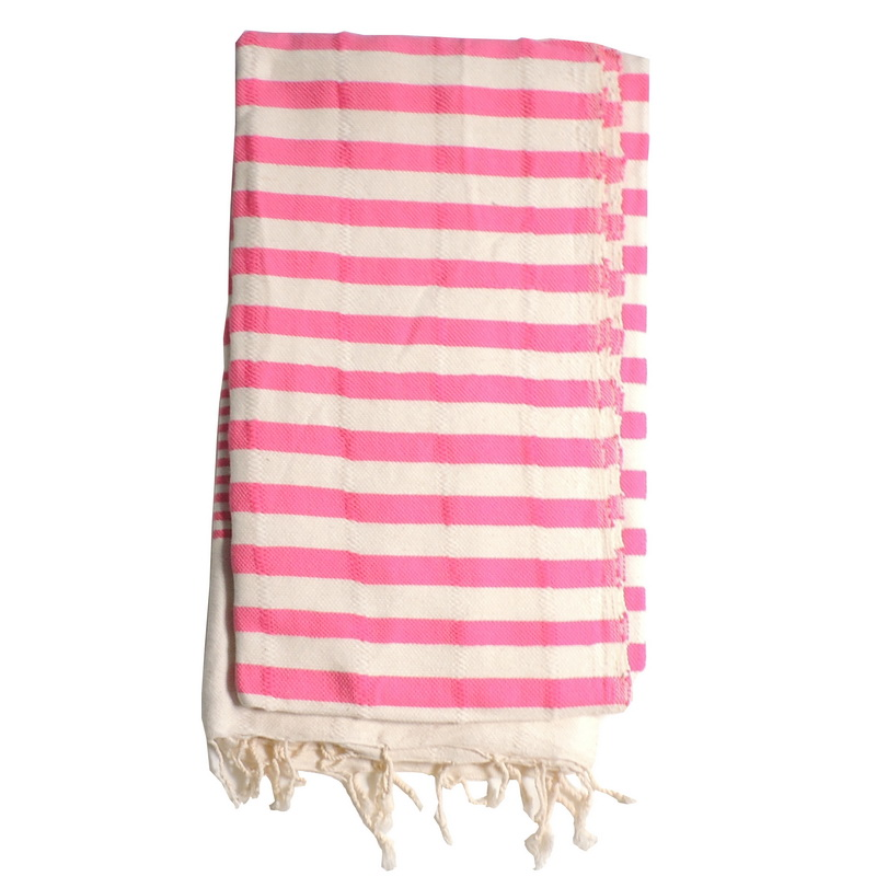 Turkish Hammam Towel - Peshtemal - Fouta Hot Pink 95x175 cm 100% cotton model 17