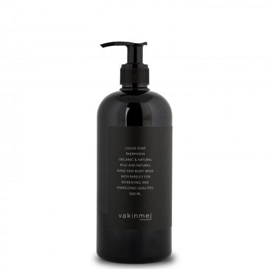 Flytande Tvål Åkermynta 500 ml med en tydlig doft av lime, persilja och mynta, är rogivande och lugnande.