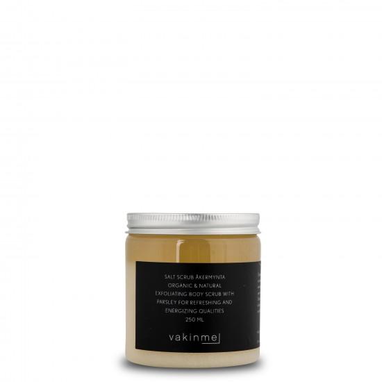 Saltskrubb Åkermynta  med en tydlig doft av lime, persilja och mynta, är rogivande och lugnande.