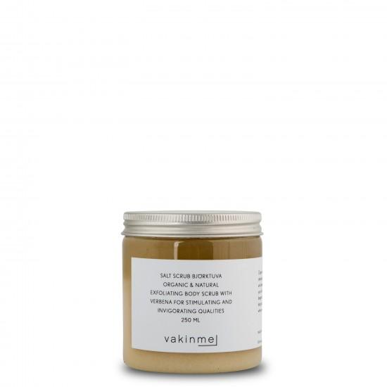 Saltskrubb Björktuva  med en frisk doft av grön citron och bergamott, är stimulerande och stärkande.