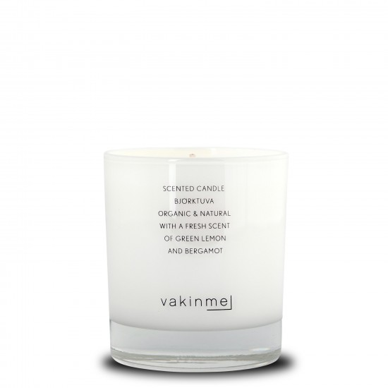 Scented Candle Björktuva with a fresh scent of green lemon and bergamot