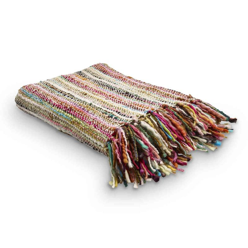 Woven plaid 130x170 cm patterned like a rag rug with fringes