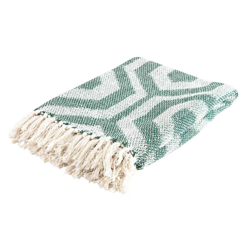 Woven blanket 130x170 cm green, natural of recycled cotton