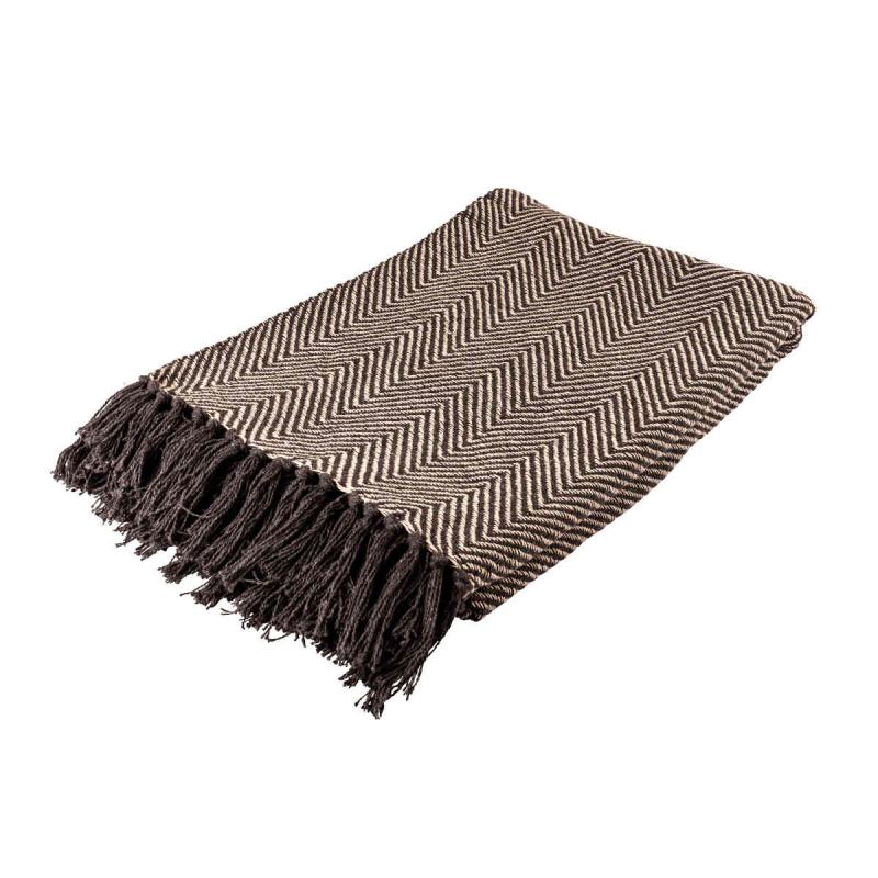 Woven blanket 130x160 cm grey, natural of recycled cotton