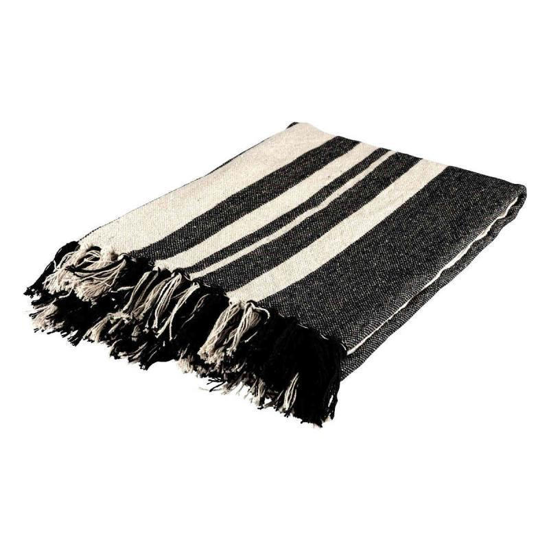 Woven striped blanket black, natural 130x160 of recycled cotton