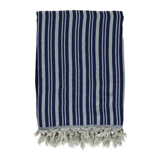 Throw, Plaid, Tablecloth TALES Linen & Cotton Navy Blue