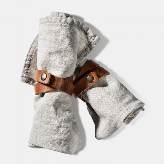 VILLAGE Servettring GYNGSE Brun Läder - Heminredning Dukning Middag