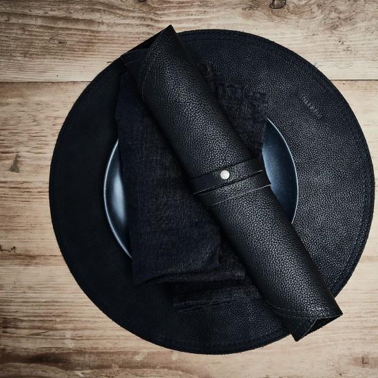 VILLAGE Servettring GYNGSE Svart Läder - Heminredning Dukning Middag
