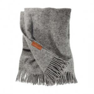 VILLAGE Woolen Blanket HEMSE 130x190 Light Grey from Swedish Sheep