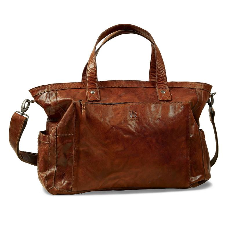 Spacious Leather Weekend bag from B away (brown)