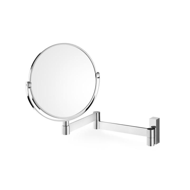 Väggmonterad teleskopisk spegel av rostfritt stål med ena sidan förstoring x1 och motsatta sidan med x 3