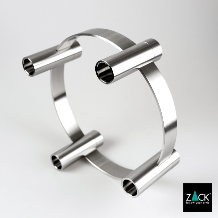Zack Ljustake / adventsljusstake LUMES i borstat rostfritt stål 21x21xh 8,5 cm