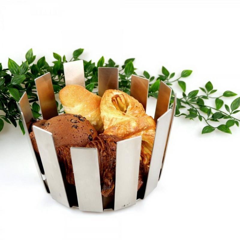 Zack TOSTO frukt eller brödkorg i borstat rostfritt stål Ø 21,5cm h 14,2 cm