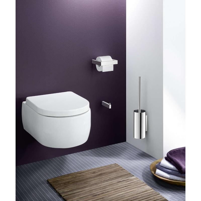 Zack väggmonterad toalettborste LINEA i högblankt rostfritt stål