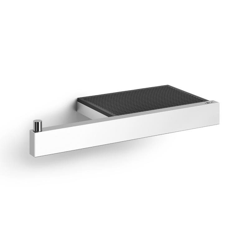 Zack LINEA shelf with toilet paper holder polished stainless steel
