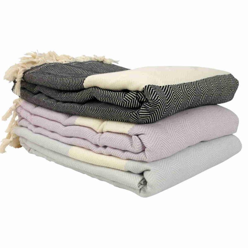 Hand loomed Zig Zag texture blanket size cotton peshtemal